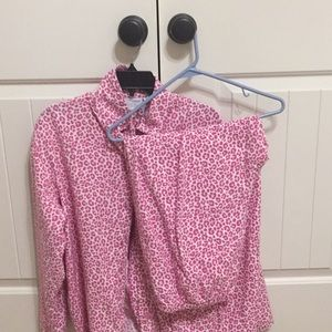 Pink leopard print pajama set